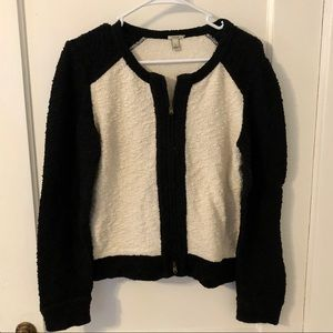 J. Crew Textured Black and White Zip-Up Sweater